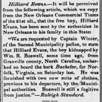 Hilliard Evans 11 March 1846