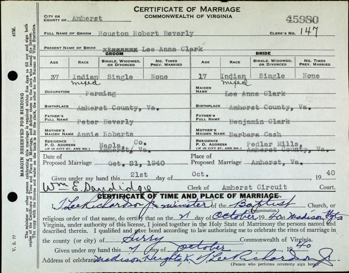 "Marriage record of two Monacan Indians Houston Robert Beverly and Lee Ann Clark. You can see how their races were originally recorded as ""Indian"" and then someone went back with a pen and wrote ""mixed"". Source: Virginia, Marriages, 1936-2014. Virginia Department of Health, Richmond, Virginia."